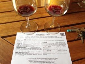 The wine tasting at Vintage Ridge involves trying their wines side-by-side for comparison