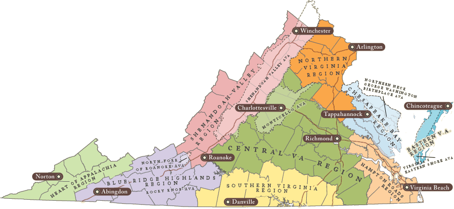 VA Wine Regions (Map Courtesy:  virginiawine.org)