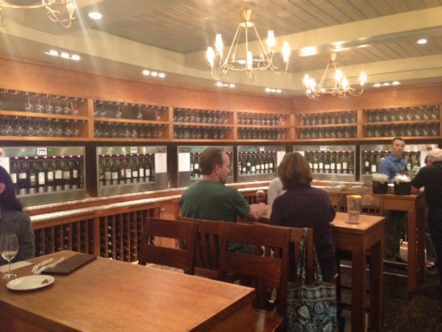 The upstairs wine bar at the Whole Foods in Fair Lakes offers over 80 wines on tap