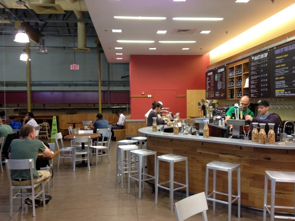 Wine and beer bar at the Whole Foods in Clarendon offers a variety of local micro-brews and wine