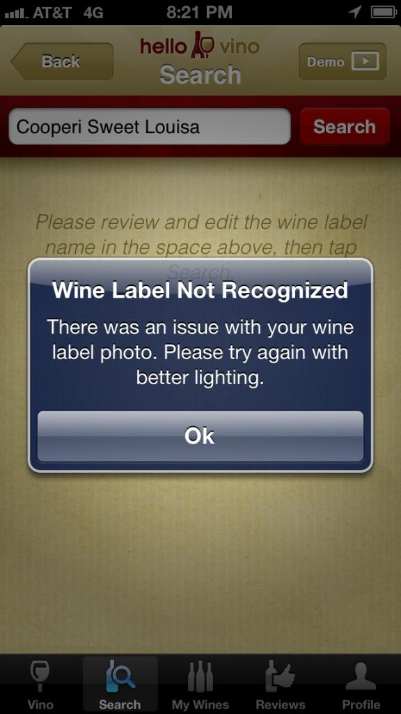 Hello Vino Error